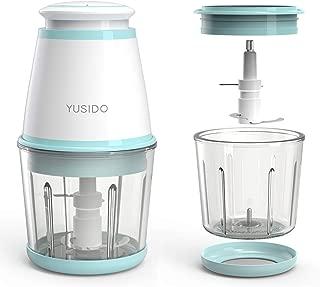 Yusido フードプロセッサー みじん切り器 離乳食 ミキサー 多機能肉野菜フードチョッパー 0.6L (2xカップ グリーン)