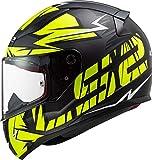 LS2, Casco Integral Moto Rapid Cromo Negro Mate Amarillo H-V M