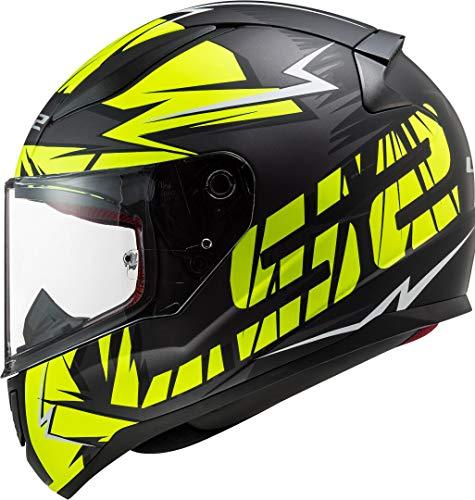 LS2 Rapid - Casco integral de moto cromado, color negro mate y amarillo