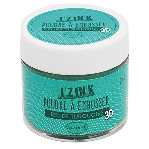 Aladine - Poudre à Embosser Izink Turquoise - Embossing - Effet Volume 3D pour Scrapbooking et Carterie Créative - Scrap en Relief Couleur Bleu Turquoise - Pot de 25 ml