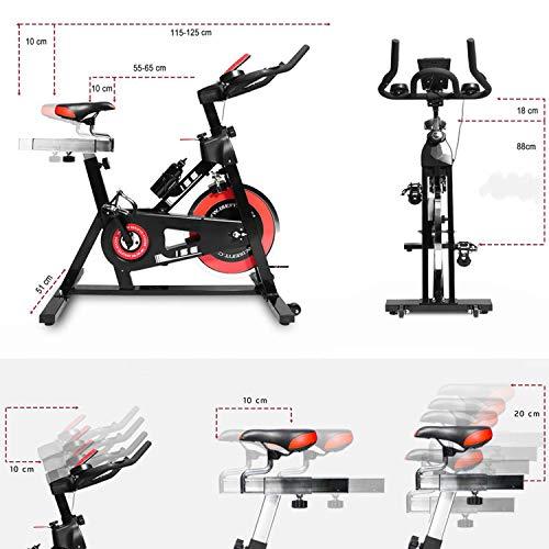 ISE Vélo d'Appartement, Volant d'inertie de 15 kg + Programme et l'Ecran LCD, Cardiofréquencemètre, Silencieux avec Porte-Bouteille & Roue, SY-7001