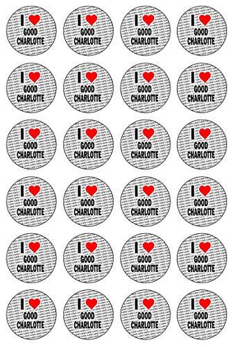 AK Giftshop Ik hou van Goede Charlotte - 24 Eetbare Cupcake Toppers Taart Decoraties - Gemakkelijk Precut Cirkels