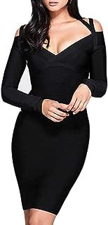 Women's Long Sleeves V Neck Bandage Bardot Cut Bodycon Party Midi Dress …