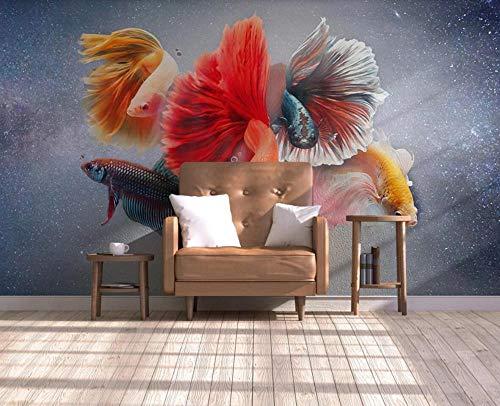 GAOWO Fototapete 3D Effekt Tapete Wandbild(250cmX175cm) Handgemalte Ölgemälde Koi Mode Vliestapete Foto Tapeten Wandtapete Wanddeko Wandbilder