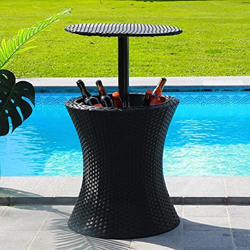 SKYLANTERN Mesa de jardín exterior con balancín de hielo para bebidas, mesa de sustrato, altura regulable, efecto mimbre – Mesa de nevera integrada