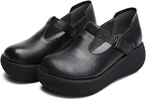 Fuxitoggo Chaussures Chaussures à Plateforme Mary Jane en Cuir à Boucles à Crochets Vintage (Couleuré   Noir, Taille   EU 38)
