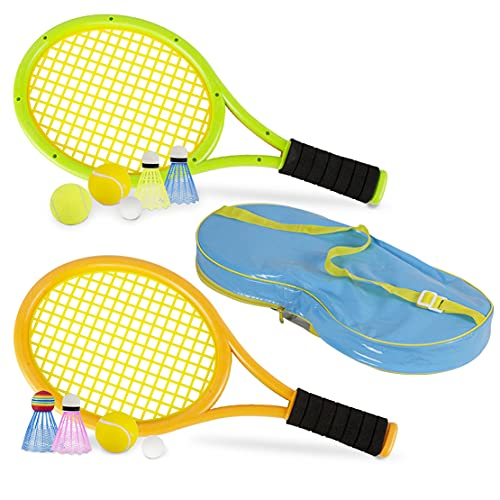 STSTECH Kids Tennis Rackets with Carrying Bag,Soft Training Balls and Badminton Birdies,12 in 1 Tennis Racquets Gift Set for Children Outdoor Indoor Sports (Green+Yellow,Plastic,17inch)