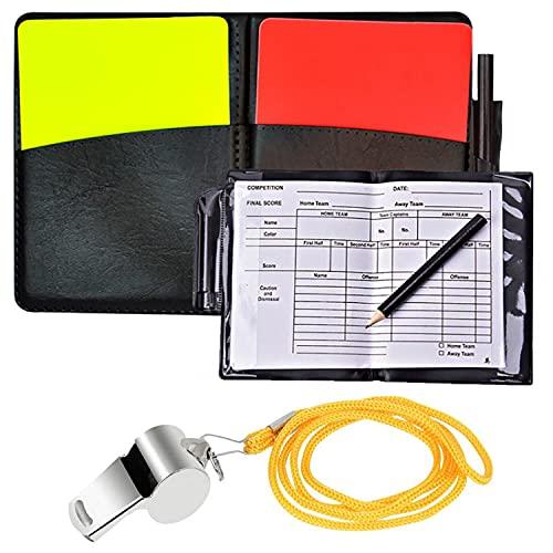 Chuajunn Kit de Tarjetas de Árbitro de Deportes, juego para voleibol con tarjeta roja y amarilla, portátil, lápiz y cartera de piel Entrenador para Fútbol Grabar