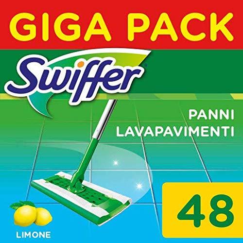 Swiffer Wet Panni Umidi Lavapavimenti per Scopa, Profumo di limone, Maxi Formato 48 Pezzi, 2 Confezioni da 24 Panni