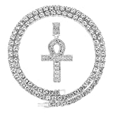 HH Bling Empire Iced Out Ankh Cross Pendant Tennis Chain for Men Women Gold Silver Plated 24 Inch (Ankh B-Silver, & Tennis)