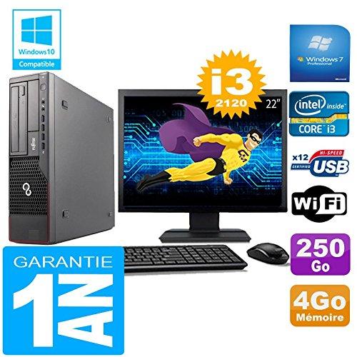 Fujitsu PC Esprimo E700 E90+ SFF Core I3-2120 4gb Scheibe 250gb Wifi W7 Bildschirm 22
