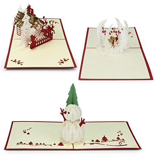 Urhome biglietto di auguri Natale con busta divertente pop-up cartolina pieghevole 3D per la famiglia, amici, aziende e altro ancora - cervo, pupazzo di neve, slitta