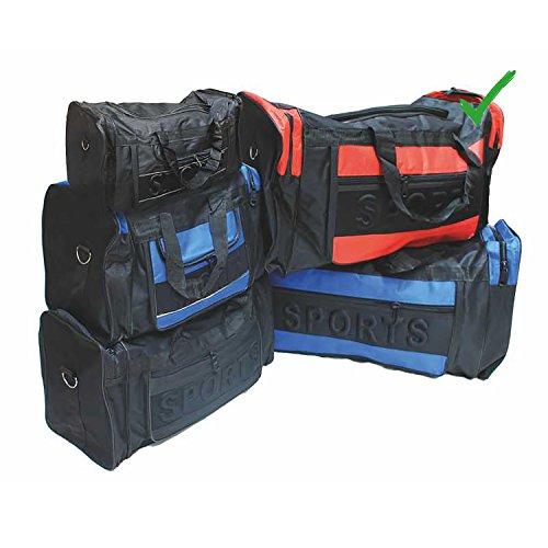 Grote sporttas zwart/rode tas met draagriem en 3 zijvakken draagtas 75 x 30 x 34 cm