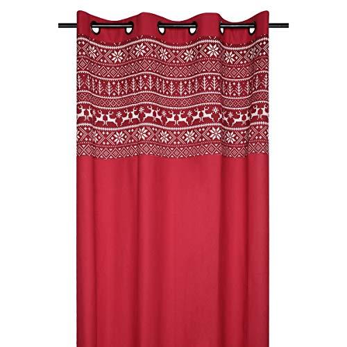 marque STOF Rideau à œillets 140x260 cm Valmorel Rouge