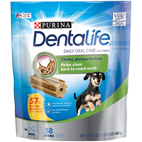 Purina DentaLife Made in USA Facilities Toy Breed Dog Dental Chews, Daily Mini - 58 ct. Pouch