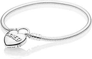 PANDORA Moments Smooth Silver Padlock Bracelet, You Are Loved Heart 925 Sterling Silver - 597806