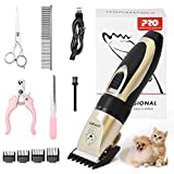 Pet Dog Grooming Clippers - Rechargeable Low Noise Cordless Pet Clippers, Professional Dog Hair Trimmer Grooming Kit with 4 Guide Combs and Cleaning Brush Nail Kits for Dogs Cats Any Animals