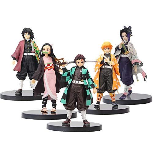 Demon Slayer Figure Statue Figurine Model Doll Birthday Gift,Hot Anime Statue Figurine Model Doll,Kamado Tanjirou,Kamado Nezuko,Agatsuma Zenitsu,Tomioka Giyuu,Kochou Shinobu,Doll Toy Collection(5)