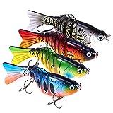 PLUSINNO Bass Fishing Lures, Swim Baits Lures for Bass, 4'/7 Segment, Multi...