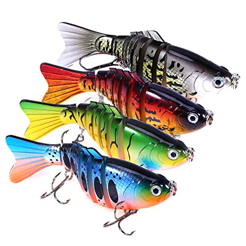 PLUSINNO Bass Fishing Lures, Swim Baits Lures for Bass, 4'/7 Segment, Multi Jointed Swimbaits Bass Smasher 3D Eyes Slow Sinking Hard Lure Fishing Tackle Kits Lifelike Lures