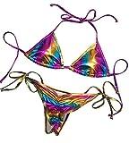 Balasami Women's Liquid Metallic Rainbow Bikini Sets Shiny String Padded Triangle 2 Pieces Swimsuit (Rainbow,S)