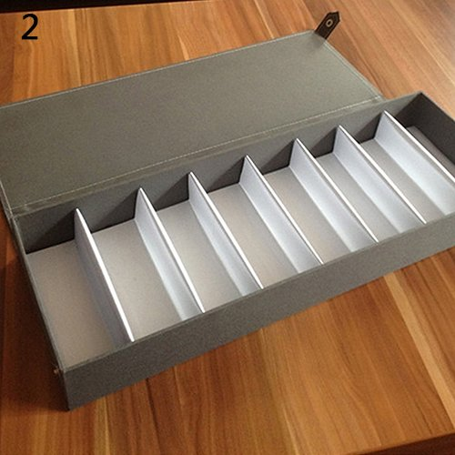 XKMY Estuche para gafas, 8 rejillas, para gafas, gafas de sol, caja de almacenamiento, organizador para reloj (color tipo C gris)