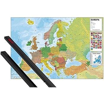 1art1 Mapas Póster (91x61 cm) Mapa Europa Ita Fisico Politico Y 1 Lote De 2 Varillas Negras: Amazon.es: Hogar