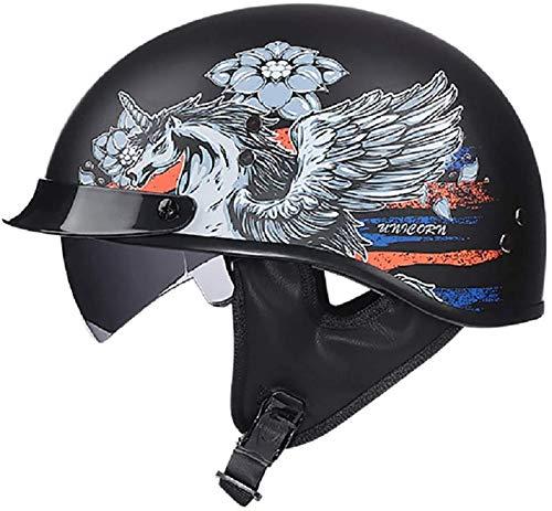 SJAPEX Casco de Moto Medio Casco,Casco de Cara Abierta Cerebro Patineta Casco de Seguridad Ciclomotor Gafas Incorporadas de Liberación Rápida Gorra Cruiser Chopper Dot/ECE Certificado. D,L=59~60cm