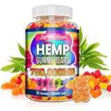 Hemp Gummies for Pain and Anxiety 750,000mg High Potency Omega 3, 6, 9 Gummy Bears Supplements Natural Organic Safe Stress Relief Inflammation Sleep and Good Mood