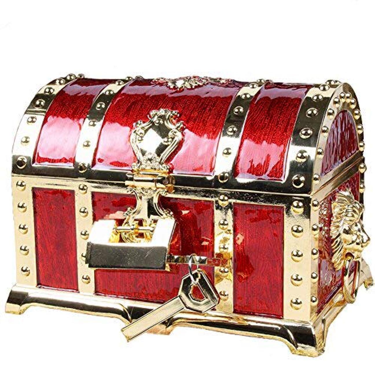 奨励退屈させるファンブルアンティーク RPG 宝箱 海賊 財宝 鍵2本付き ジュエリーボックス 小物入れ アクセサリーケース (紅色)