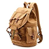 H.JPT Fashion Retro SLR Backpack Unisex Canvas Dayback Camera Bag High Capacity Shoulder Bags with Bag Cover (Color : Green)