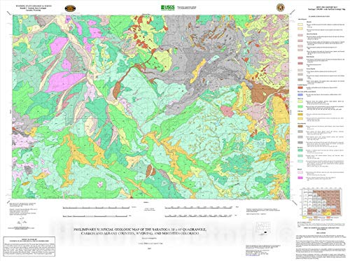 Historic Pictoric Map : Preliminary surficial geologic map of The Saratoga 30' x 60' Quadrangle, Carbon and Albany Counties, Wyoming, and Northern Colorado, 2005 Cartography Wall Art : 24in x 18in