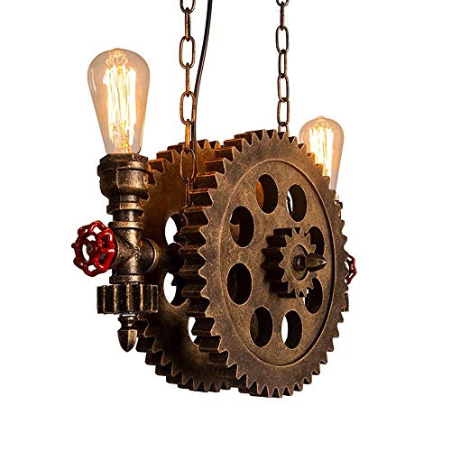 Luces de engranajes de estilo retro industrial, restaurantes, bares, cafeterías, escaleras, candelabros, ruedas de madera de bronce, narguile de metal E27 230V