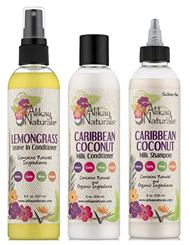 Alikay Naturals Zitronengras in Conditioner 8oz, Caribbean Coconut Milk Conditioner 8oz und Caribbean Coconut Milk Shampoo 8oz