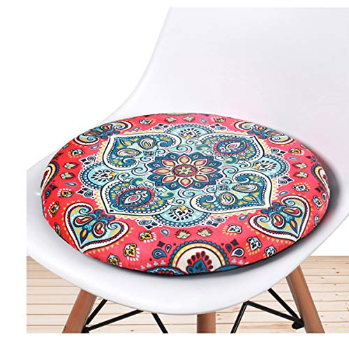 VEOAY Boho Round Dining Chair Cushions Fit for Dining Chair, Wicker Chair, Round Chair,Gaming Chair. Memory Foam Seat Pad with Machine Washable Cover - [Flower Red, 16.5 Inches] 1 Pack