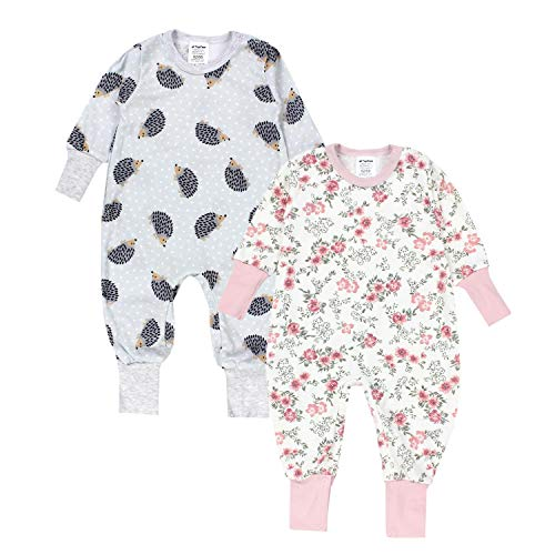 TupTam Baby Mädchen Schlafstrampler Gemustert 2er Pack, Farbe: Farbenmix 5, Größe: 62-68