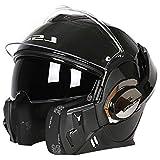 Dgtyui Caschi moto uomo e donna integrali cromo casco antiappannamento completo smontaggio fodera design unico di ventilazione - 3 Nero lucido X XL