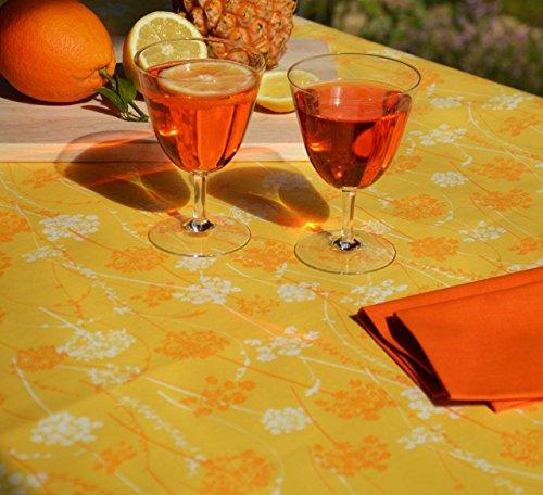 Fleur de soleil ~ Nappe Herbes folles Jaune Coton Enduit 120x120