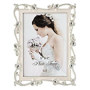 L&T Metal Picture Frame Silver Plated with Cream White Enamel and Jewels 5x7 Inch, Ideal Anniversary Wedding Mother's Day Gift Photo Frame