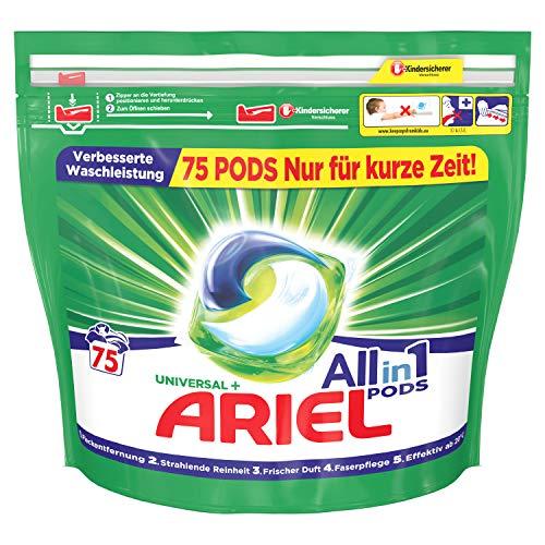 Ariel Waschmittel Pods All-in-1, Universal, Frischer Wäscheduft und strahlende Reinheit, 75 Waschladungen