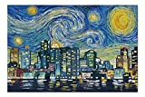 Promini Boston, Massachusetts - Skyline - Van Gogh Starry Night - 500 Piece Jigsaw Puzzles for Adults Kids, Puzzles for Toddler Children Boys and Girls 15' x 20'