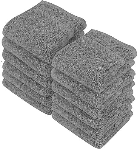 Utopia Towels - Juego de Toallas para la Cara - 700GSM Lavable en la Lavadora - (Paquete de 12, 30 x 30 cm, Gris) - Extra Suave y Altamente Absorbente ⭐