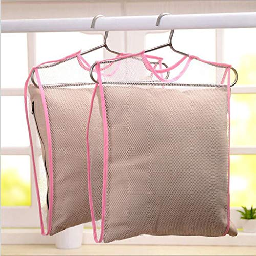 Neigei Mesh Bag Drying Pillow Hanger Laundry Rack Hanging Heavy Duty Space Saver Mesh Bags Shoe Dryer Basket Closet Storage Pillow Doll Plush Toy Hanger Accessory Organizers 44 x 37 cm 2 Pack Pink