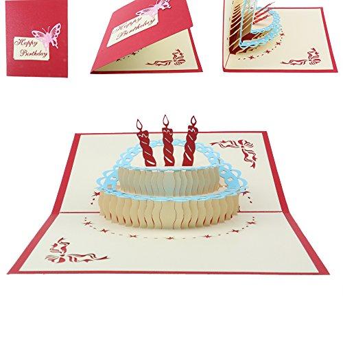 Orange Cat 3D 立体 ケーキ 誕生日 グリーティングカード メッセージカード ポップアップカード バスディーカード ありがとうカード 封筒付き レッド 1枚