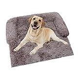 KingMSPG Sofá de felpa ultra suave para perro, cama de mascota para perro, antideslizante, lavable, cojín para perros y gatos pequeños, medianos y grandes (75 x 75 x 15 cm, marrón)