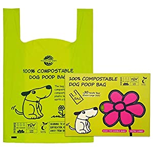 Moonygreen Poop Bags, X-Large Dog Waste Bags, XL Cat Litter, Extra Large Easy-Tie Handles, Vegetable-Based Bag for Waste, Compostable and Eco-Friendly, Unscented, Extra Thick and Leak Proof, 30 Counts