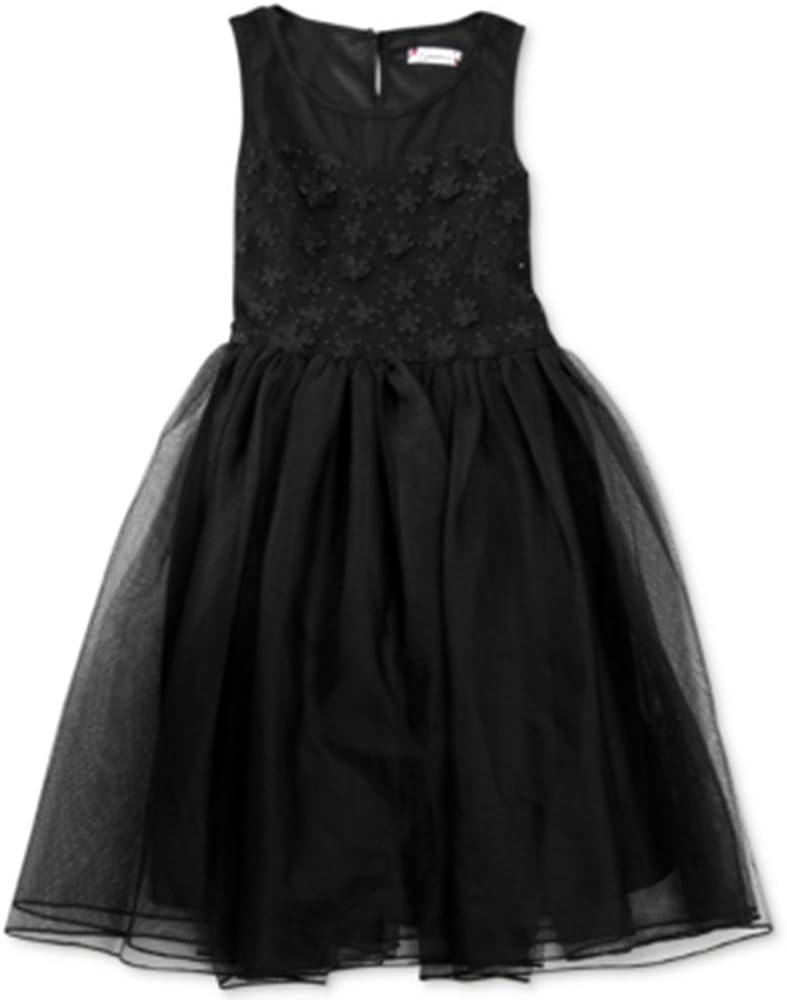 Speechless Girls' Embellished Illusion Dress (16) Black