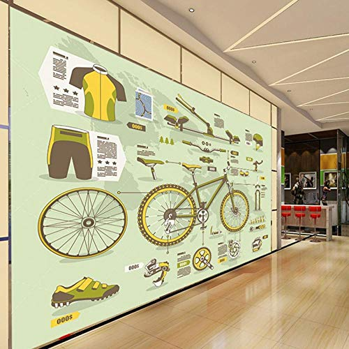 Tv Achtergrond Mural Aangepaste Mural Woonkamer Aangepaste Wallpaper Retro Bike Mountainbike Onderdelen Gereedschap Achtergrond Muur Slaapkamer Mural 400 * 280cm