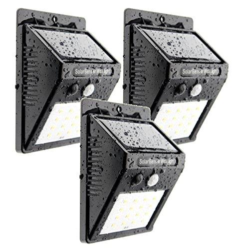 Trango 3-pack 16 LED zonnelamp wandlamp veiligheidslamp incl. bewegingsmelder en helderheidssensor zorgen voor automatisch aan/uit TGSOL-YF16