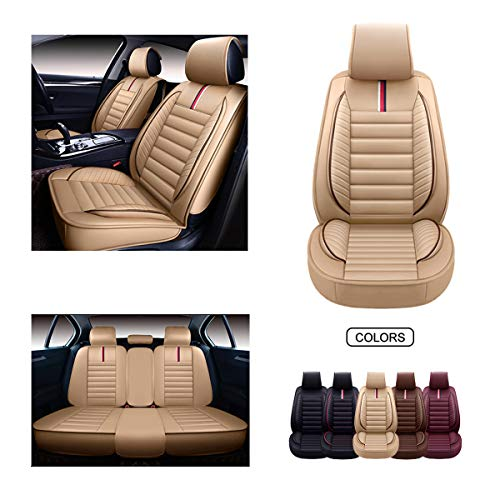 OASIS AUTO Leather Car Seat Covers, Faux Leatherette Automotive Vehicle Cushion Cover for Cars SUV Pick-up Truck Universal Fit Set for Auto Interior Accessories (OS-001 Full Set, TAN)